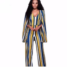 Striped Wide Leg Cape Cloak Women Overall Jumpsuit - $35.00