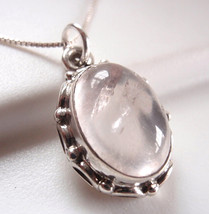 Rose Quartz with Rope Style Accents 925 Sterling Silver Pendant h121tn - $21.77