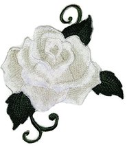 "Custom White Single Rose Embroidered Iron on/Sew patch [5"" * 4""] [Made i... - $8.86"