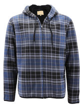 Men's Casual Flannel Zip Up Fleece Lined Plaid Sherpa Hoodie Lightweight Jacket image 8