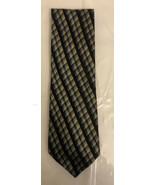 "Fabio Fazio 100% Silk Black Silver Blue Geometric Necktie 56""X 4"" - $14.85"