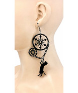 "4.75"" Long Lightweight Fun Whimsical Black Cat Plastic Earrings Punk Goth - $8.12"