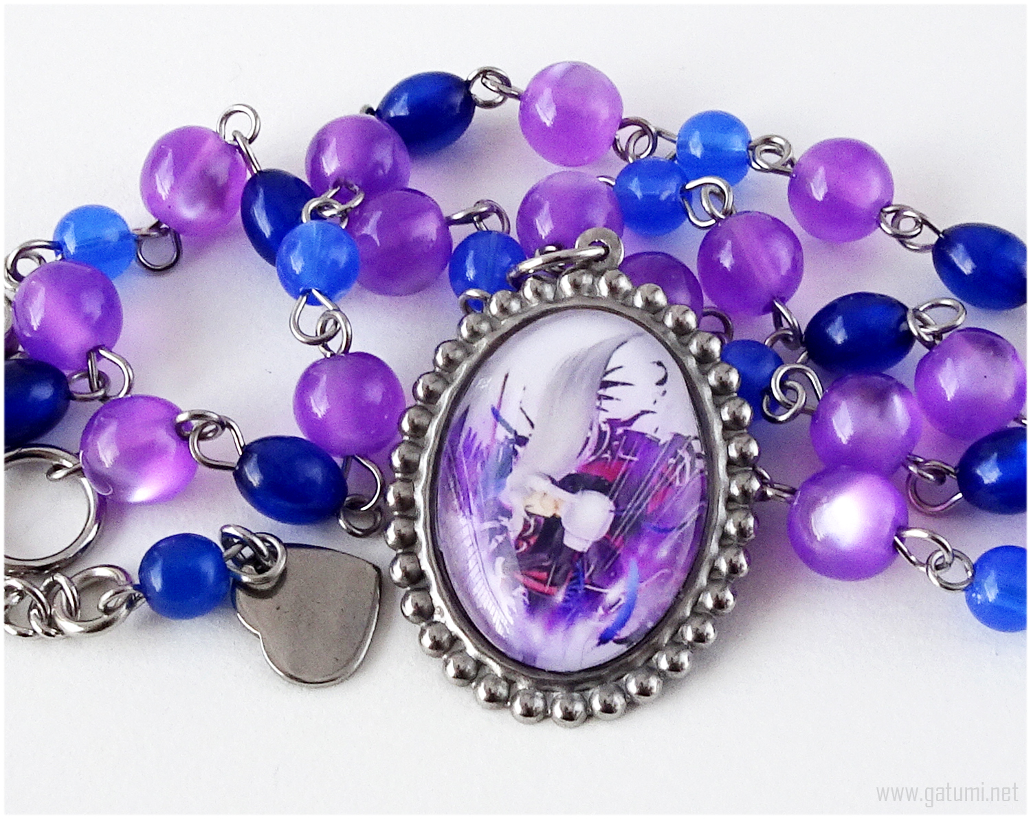 Primary image for Sephiroth Cameo Necklace, Purple, Blue, Silver, Stainless Steel, Handmade
