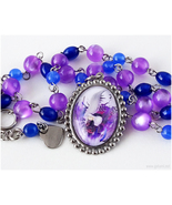 Sephiroth Cameo Necklace, Purple, Blue, Silver, Stainless Steel, Handmade - $28.00