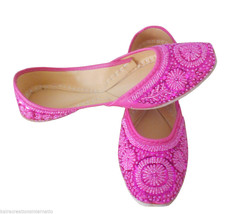Women Shoes Indian Handmade Mojari Leather Pink Oxfords Jutties US 10  - £24.26 GBP
