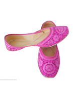 Women Shoes Indian Handmade Mojari Leather Pink Oxfords Jutties US 10  - $44.99