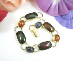 BRACELET Vintage Green Brown Imitation STONES Goldtone LINKS Oval  Recta... - $18.99