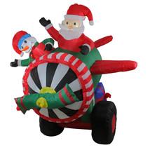 Northlight 6.5' Animated Santa Snowman Airplane Christmas Outdoor Decora... - £100.11 GBP