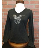 Harley Davidson Womens T Shirt S Beaded Eagle Graphic V Neck Long Sleeve... - $18.80