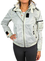 New Superdry Women's Premium Technical Zip Up Jacket Silver Removable Hood image 1