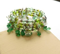 Retro Shades of Green Glass Gemstone Bead Fringe Wrap Cuff Bangle Bracel... - $4.94