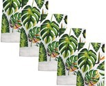 """5 pc SAME KITCHEN TOWELS SET, 15"""" x 25"""", LARGE GREEN LEAVES by KC"""