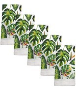 """5 pc SAME KITCHEN TOWELS SET, 15"""" x 25"""", LARGE GREEN LEAVES by KC - $17.81"""