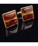 Classic Agate Cufflinks - Vintage Brown Stripe set - tuxedo cufflinks - ... - $75.00