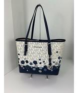 Michael Kors Bag Carryall Jet Set Monogram Floral Applique Large White N... - $178.19