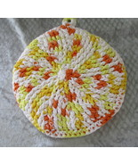 Orange Varigated Crochet Potholder - Double Thickness - $12.95