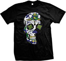Dia De Los Muertos Sugar Floral Skull Day of the Dead Brasil Brazil Mens... - $14.60 CAD