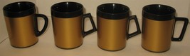 4 Vtg Retro Gold & Black Westbend Plastic Insulated Coffee Tea Mugs Made... - $28.71