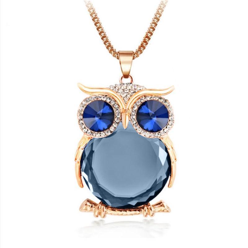 12 Colors Trendy Owl Necklace Fashion Rhinestone Crystal Jewelry Statement