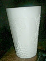 Vintage Colony Harvest Milk Glass Cooler White Tumbler Grapes Leaves 4 9... - $7.91