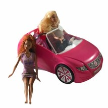 Mattel Barbie Lot Pink Convertible Car 2 Seater with 2 Barbie Dolls 1990's   - $21.77