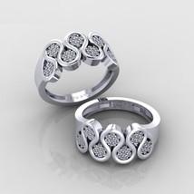 Solid 10k White Gold 0.50CTTW Round Cut Swarovski Diamond Womens Engagement Band - $489.99