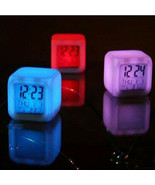 Digital Alarm Thermometer Night Glowing Cube 7 Colors Clock LED Change - $22.40