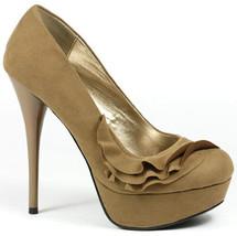 Taupe Brown Velvet  Ruffle High Stiletto Heel Round Toe Platform Pump Qupid  - $9.99