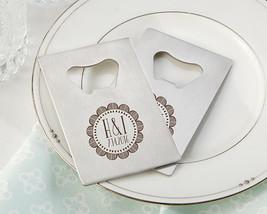Personalized Silver Monogram Credit Card Bottle Opener Wedding Favor - $137.70+