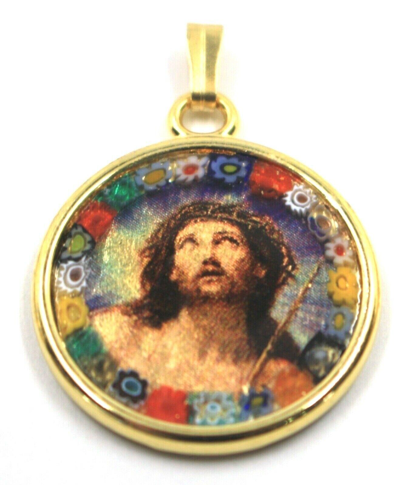 "MURANO GLASS ROUND MEDAL PENDANT, JESUS FACE, 25mm 1"" FLOWER FRAME GOLD LEAF"