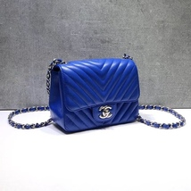 NEW AUTHENTIC CHANEL BLUE CHEVRON QUILTED CAVIAR SQUARE MINI CLASSIC FLAP BAG  image 4