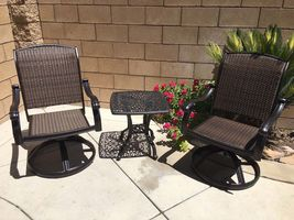 Patio bistro set swivel rocker chairs end table 3 piece outdoor cast aluminum image 3