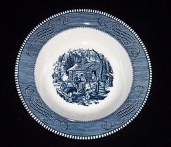 """Vintage 9 """" Blue CURRIER & IVES Vegetable Serving Bowl """"Maple Sugaring""""~... - $12.00"""