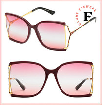 GUCCI 0592 Burgundy Pink Gold Square Stripe Snake Sunglasses GG0592S Ret... - $263.59
