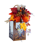 Fall Autumn Decoration 13 in. Small Harvest Lantern with LED Candle with... - $44.46