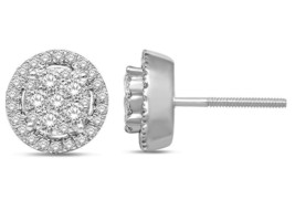 SALE! 0.75 Carat Genuine Diamond Halo Style Stud Earrings in 14K White G... - $495.00