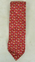 Brooks Brothers Classic Red w Gold & Blue Fruit Design 100% Silk Neck Tie  - $17.09