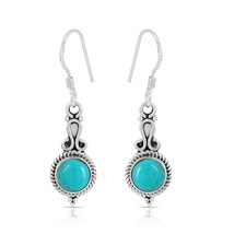 Turquoise Smooth Stone Earring, 925 Silver Earring, Round Shape, Dangle ... - $14.99