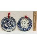 2 Royal Crownford Ironstone Hanging Decorative Inspirational Plate Blue ... - $19.75