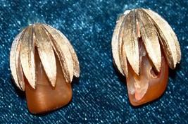 "Rare Vtg 1-1/4"" Signed Coro Goldtone Amber Glass Clip On Earrings Palm Frond - $34.99"