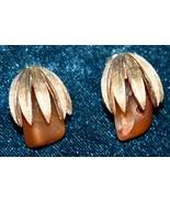 "Rare Vtg 1-1/4"" Signed Coro Goldtone Amber Glass Clip On Earrings Palm F... - $34.99"