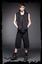Men's Black Goth Punk Studded Hooded Vest Queen of Darkness Rock Metal H... - $89.45+