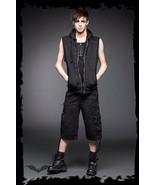Men's Black Goth Punk Studded Hooded Vest Queen of Darkness Rock Metal H... - $89.45+