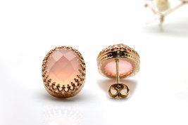Pink earrings,chalcedony earrings,gemstone earrings,crown earrings - $59.00+