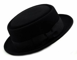 NYFASHION101 Mens Crushable Wool Felt Porkpie Hat w/Feather - $31.90