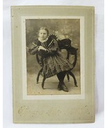 Antique photograph cabinet card girl child in plaid dress sitting on cha... - $15.76