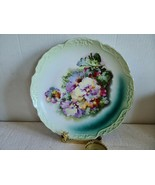 "Antique Ornate Hand Painted Pansy Flowers  Wall Hanging Plate 12"" Good C... - $24.99"