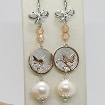 Earrings Silver 925 Tried and Tested Pendant with Pearl Peach Crystals & Bow image 1