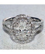 Certified 2.80Ct Oval Cut Diamond Halo Engagement Ring in Solid 14K Whit... - $265.15