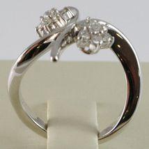 White Gold Ring 750 18k, Double Flower Rosette with Diamonds Cross image 2